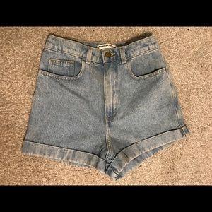 American Apparel High Waist Jean Shorts